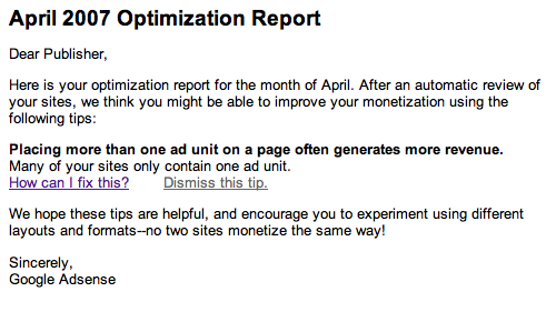 Google adsense april 2007 optimization report