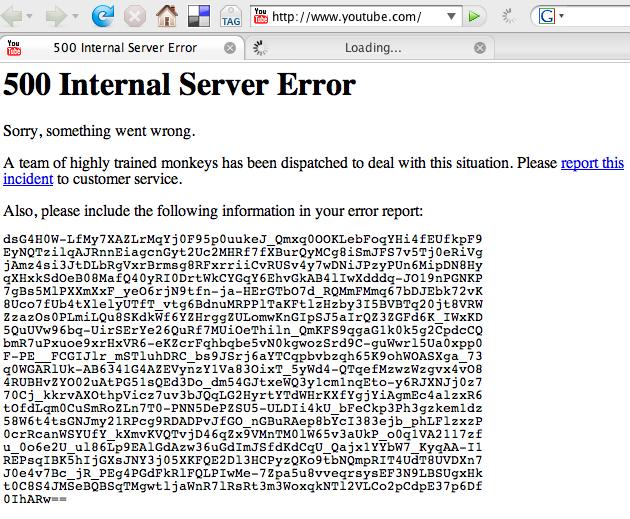 youtube server down