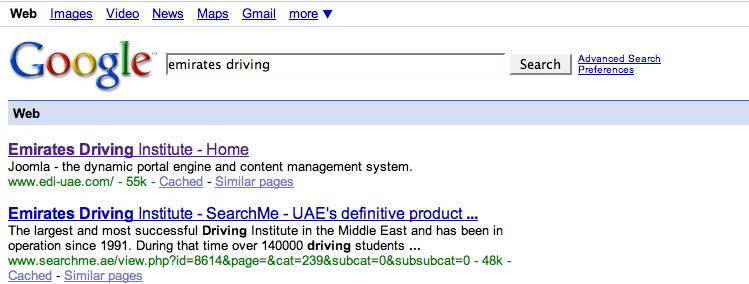 Dubai Emirates Driving Institute bad seo