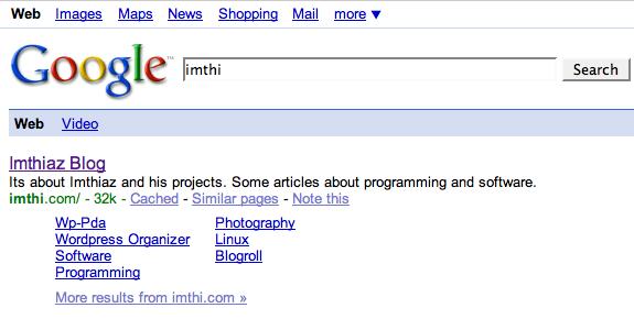 Google enabled sitelinks for my blog