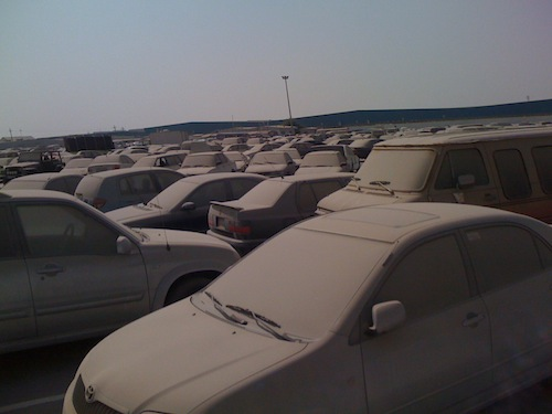 overview of cars parked on Dubai car impound 2